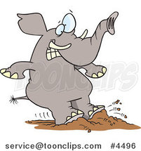 Cartoon Elephant Braking with His Feet by Ron Leishman