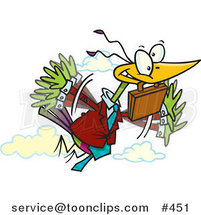 Cartoon Business Bird Flying with a Briefcase by Ron Leishman