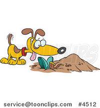 Cartoon Dog by a Buried Person by Ron Leishman