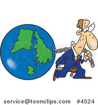 Cartoon Business Man Pulling Earth by Ron Leishman