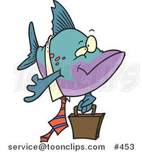 Cartoon Business Fish Carrying a Briefcase by Ron Leishman