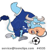 Cartoon Soccer Bull by Ron Leishman