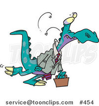 Cartoon Business Dinosaur Carrying a Briefcase by Ron Leishman