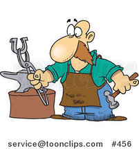 Cartoon Farrier Working on a Horseshoe by Toonaday