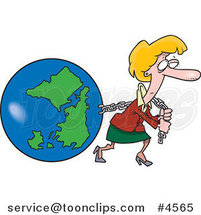 Cartoon Business Woman Pulling Earth by Ron Leishman