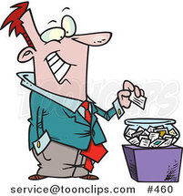 Cartoon Business Man Putting His Card into a Bowl for a Drawing by Ron Leishman