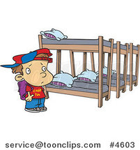 Cartoon Summer Camp Boy Looking at Bunk Beds by Ron Leishman