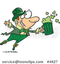 Cartoon Toasting Leprechaun by Ron Leishman