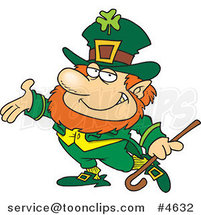 Cartoon Presenting Leprechaun by Ron Leishman