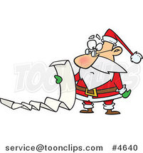 Cartoon Santa Reading a Long List by Ron Leishman