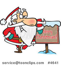 Cartoon Santa Leaning Against a Merry Christmas Sign by Ron Leishman