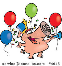 Cartoon Celebrating New Year Pig by Ron Leishman