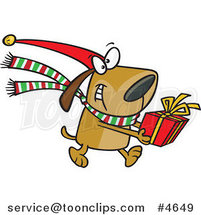 Cartoon Christmas Dog Carrying a Present by Ron Leishman
