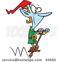 Cartoon Christmas Elf Hopping on a Pogo Stick by Ron Leishman