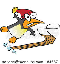 Cartoon Sledding Penguin by Toonaday