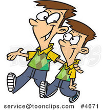 Cartoon Big Brother Walking with His Little Brother by Ron Leishman