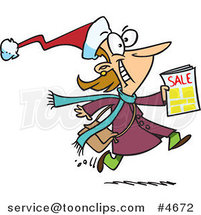 Cartoon Excited Black Friday Shopper Running with a Sale Ad by Ron Leishman