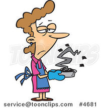 Cartoon Grumpy Lady Holding a Burnt Cake by Toonaday