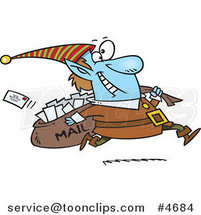 Cartoon Christmas Elf Delivering Santa Mail by Ron Leishman