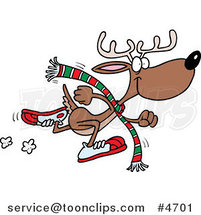 Cartoon Running Reindeer by Ron Leishman