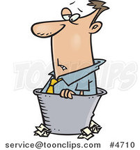 Cartoon Rejected Business Man in a Bin by Ron Leishman