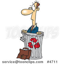 Cartoon Recycled Business Man in a Bin by Ron Leishman