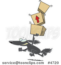 Cartoon Retriever Dog Carrying Packages by Ron Leishman