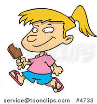 Cartoon Girl Eating a Refreshing Popsicle by Ron Leishman