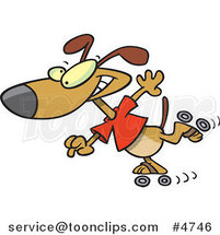 Cartoon Roller Blading Dog by Ron Leishman