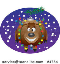 Cartoon Reindeer Christmas Ornament by Ron Leishman