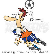 Cartoon Soccer Ball Hitting a Referee by Ron Leishman