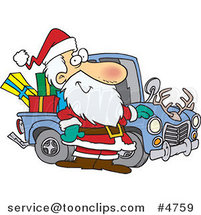 Cartoon Santa Standing by His Redneck Truck by Ron Leishman