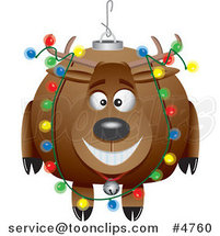 Cartoon Reindeer Christmas Bauble by Ron Leishman