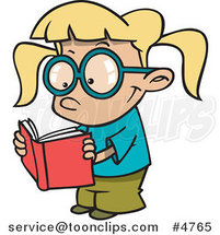 Cartoon Happy Girl Reading by Ron Leishman