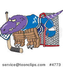Cartoon Raptor Goalie by Ron Leishman