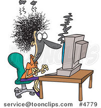 Cartoon Lady Covered in Soot at a Computer by Ron Leishman