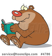 Cartoon Happy Bear Reading by Toonaday