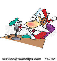 Cartoon Santa Talking on the Radio by Ron Leishman