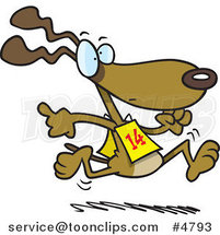 Cartoon Dog Running in a Race by Ron Leishman