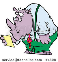 Cartoon Business Rhino Reading a Memo by Toonaday