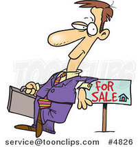 Cartoon Realtor Leaning on a Sale Sign by Ron Leishman