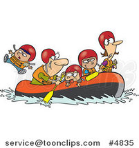 Cartoon Family Rafting by Ron Leishman