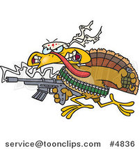 Cartoon Rambo Turkey Bird by Toonaday