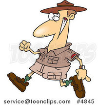Cartoon Ranger Walking by Ron Leishman