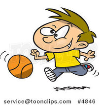 Cartoon Boy Dribbling a Basketball by Ron Leishman
