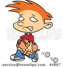Cartoon Boy Losing Coins from His Piggy Bank by Ron Leishman