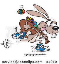 Cartoon Easter Bunny Running with a Bag of Eggs by Ron Leishman