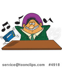 Cartoon Lazy Boss Listening to Loud Music by Ron Leishman