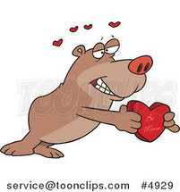 Cartoon Bear Holding a Be Mine Heart Box by Toonaday