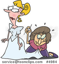 Cartoon Seamstress Tailoring a Bride's Dress at the Last Minute by Ron Leishman